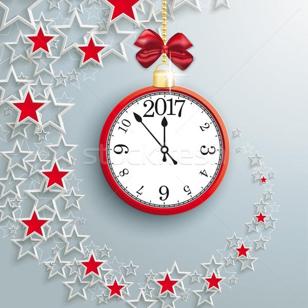 Clock With Red Starsdust 2017 Stock photo © limbi007