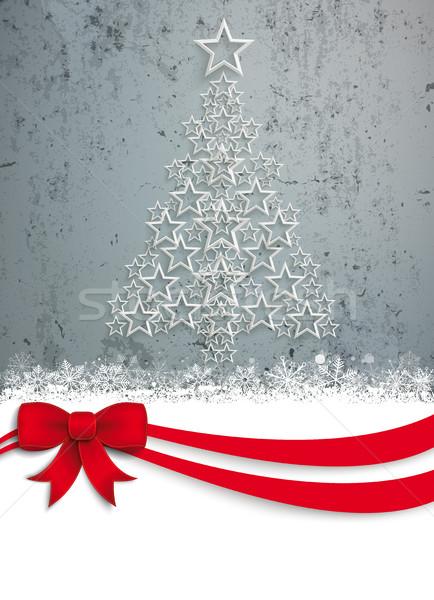 Upright Christmas Tree Stars Red Ribbon Concrete Stock photo © limbi007