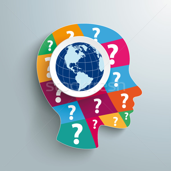 Humanismo cabeça pergunta peças mundo Foto stock © limbi007