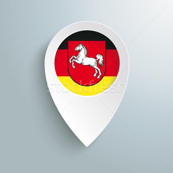 Blanco ubicación marcador bajar bandera gris Foto stock © limbi007