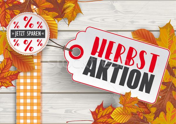Wood Autumn Foliage Price Sticker Herbstaktion Stock photo © limbi007