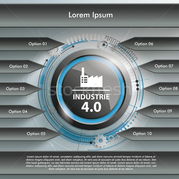 Black Arrows Centre Industrie 4.0 Stock photo © limbi007