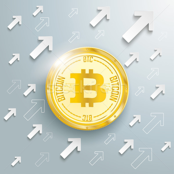 Golden Bitcoin Arrows Growth Stock photo © limbi007