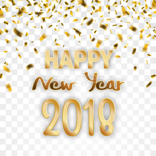 Stockfoto: Gouden · confetti · transparant · gelukkig · nieuwjaar · tekst · eps