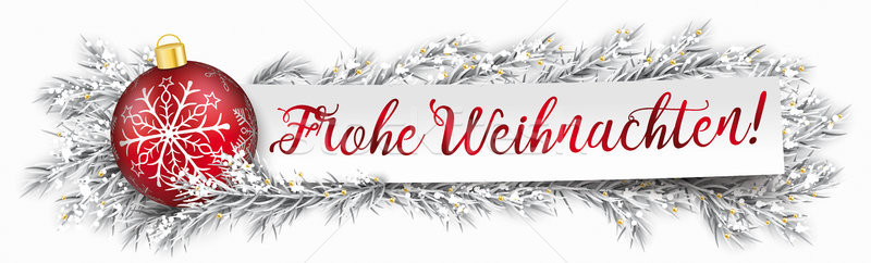 Paper Banner Bauble Frozen Twigs Christmas Frohe Weihnachten Stock photo © limbi007