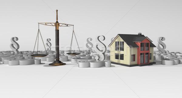 Stockfoto: Huis · balk · evenwicht · gebouw · paragraaf · 3d · illustration