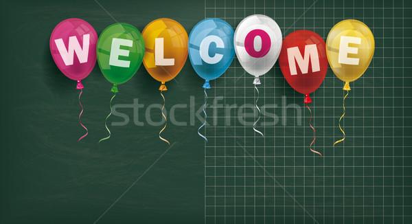 Stockfoto: Blackboard · ballonnen · welkom · schoolbord · gekleurd · tekst