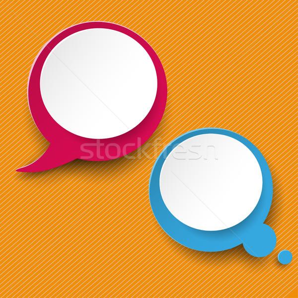 Speech and Thought Bubble Labels Orange Stripes Stock photo © limbi007