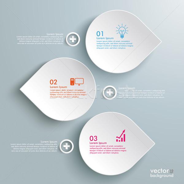 Foto stock: Tres · gotas · línea · infografía · blanco · caída