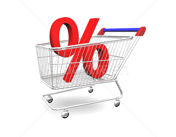 Shopping Cart With Percentage 3D Stock photo © limbi007