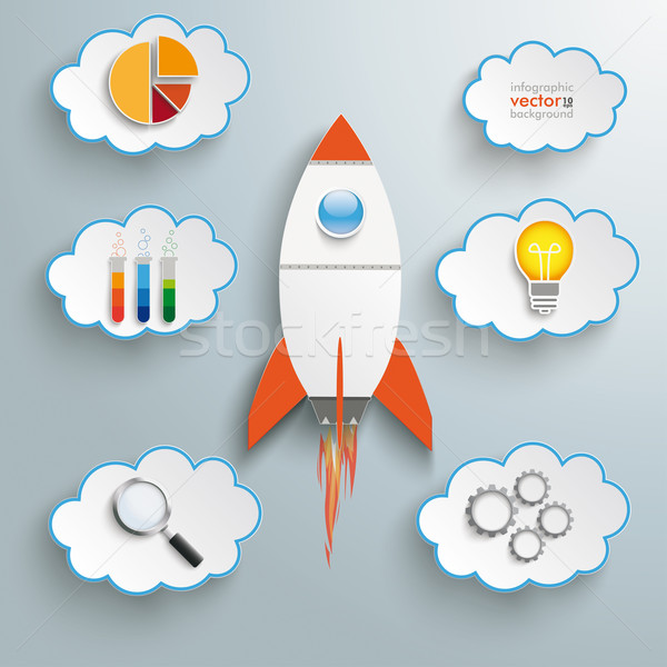 Bulb Startup Clouds With Icons Stock photo © limbi007