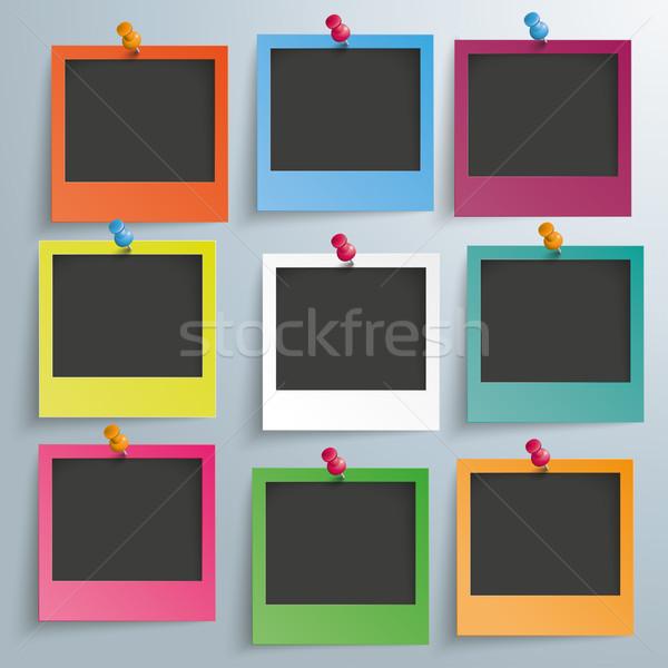 9 Colored Photo Frames Stock photo © limbi007