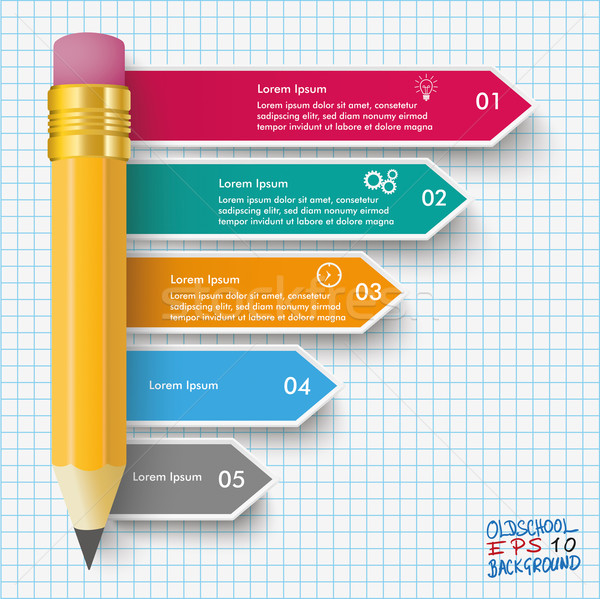 Pencil Arrows Infographic Checked Paper Stock photo © limbi007