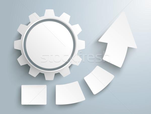 Crescimento seta quatro peças engrenagem branco Foto stock © limbi007