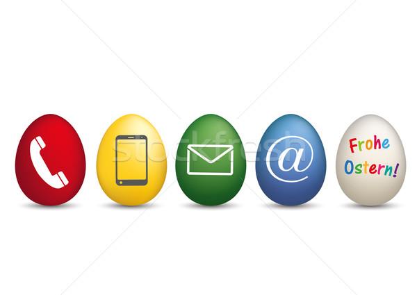Contact vrolijk pasen gekleurde eieren tekst eps 10 Stockfoto © limbi007