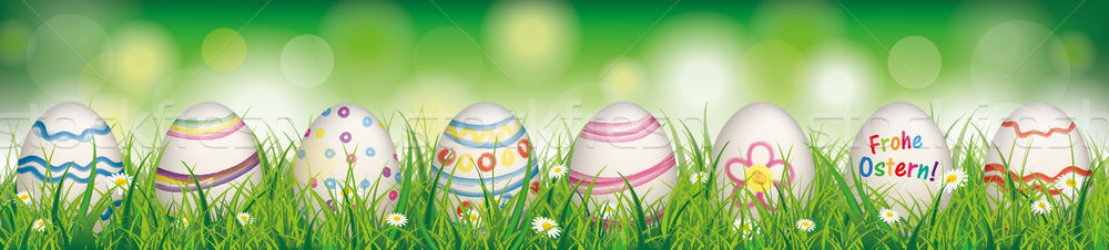 Natural Easter Eggs Spring Frohe Ostern Header Stock photo © limbi007