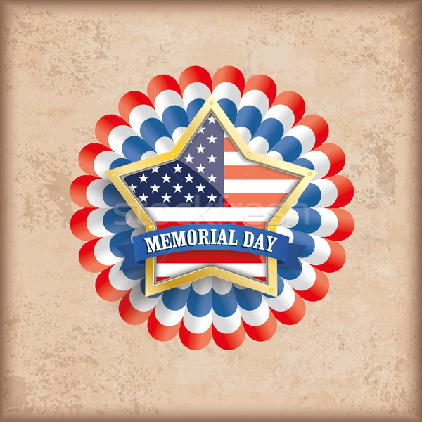 Vintage USA Golden Star Bunting Flag Memorial Day Stock photo © limbi007