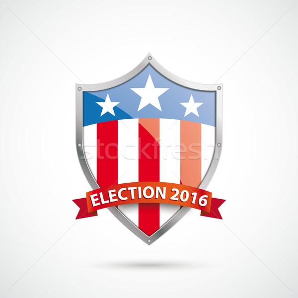 Seçim 2016 koruma kalkan şerit beyaz Stok fotoğraf © limbi007