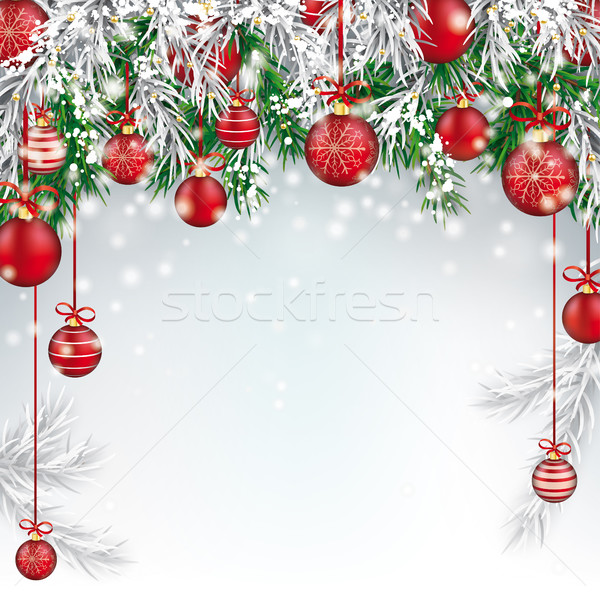 Christmas  Frozen Green Fir Twigs Red Baubles Stock photo © limbi007