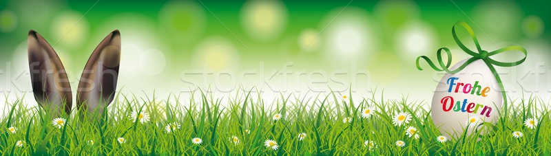 Natural Easter Egg Rabbit Ears Green Ribbon Ostern Header Stock photo © limbi007