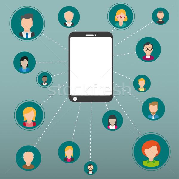 Humans Connection Network Smartphone Stock photo © limbi007