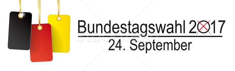 3 Germany Price Sticker Golden Ribbons Bundestagswahl 2017 Stock photo © limbi007