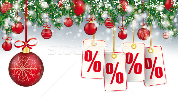 Christmas Header Twigs Snow Red Baubles Percent Price Stickers Stock photo © limbi007