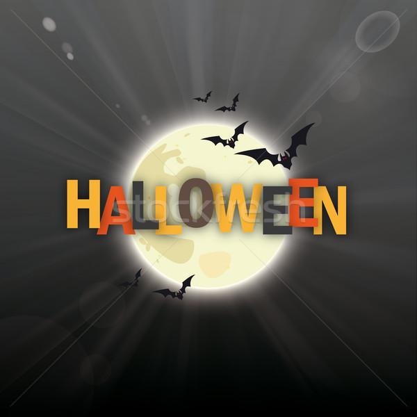 Full Moon Dark Night Sky Bats Halloween Stock photo © limbi007