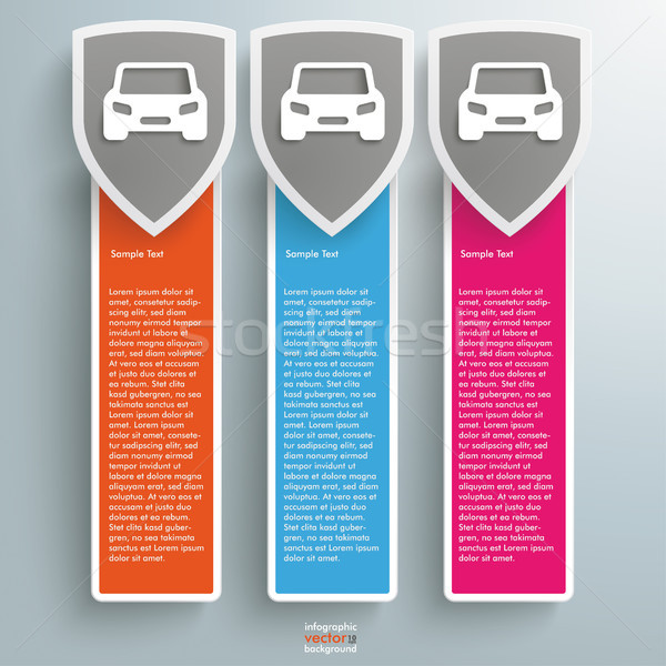 3 Colored Protection Shield Oblong Banners Cars Stock photo © limbi007