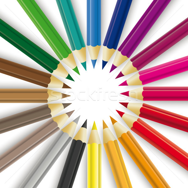 Colored Pencils Circle Stock photo © limbi007