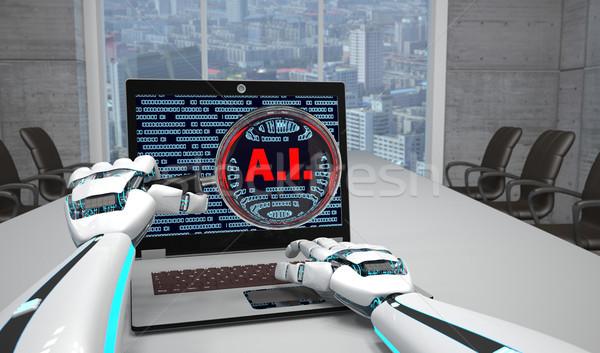 Foto d'archivio: Robot · mani · lente · di · ingrandimento · notebook · sala · conferenze · testo