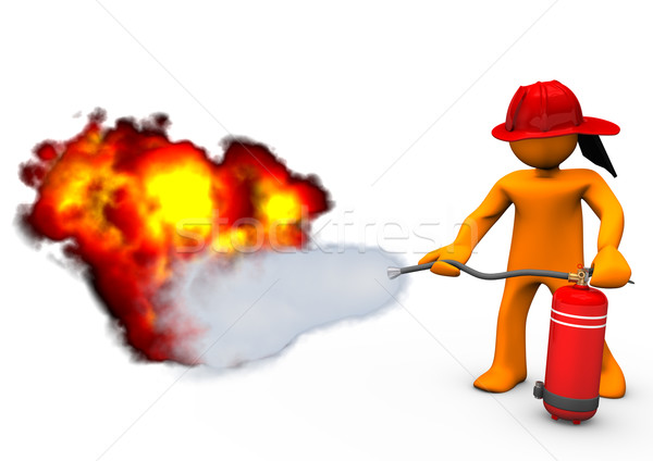 Fireman Extinguisher Fire Stock photo © limbi007