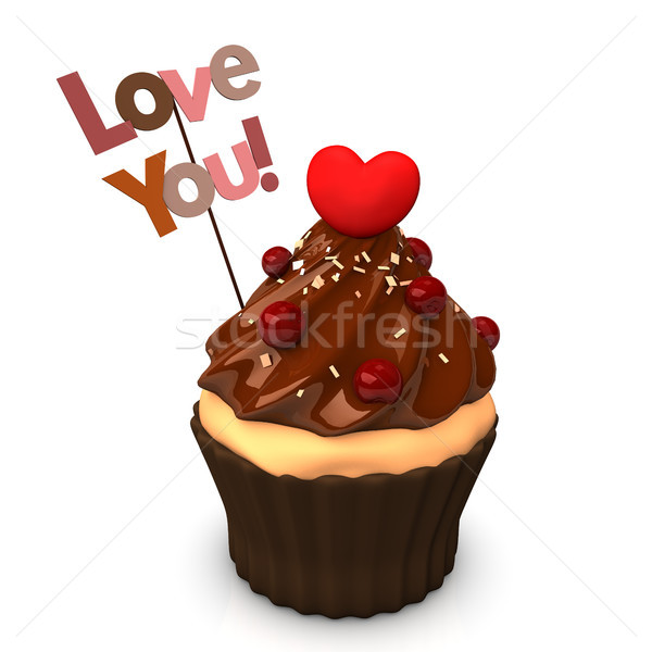Cupcake Choco Heart Love You Stock photo © limbi007