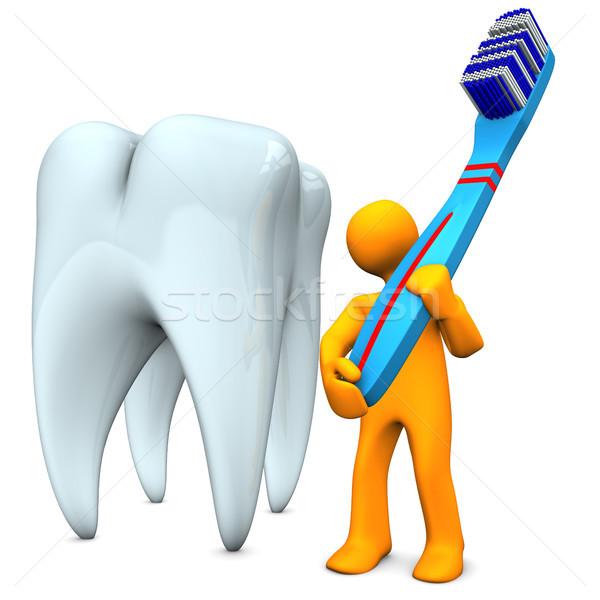 Escova de dentes laranja branco mulher projeto Foto stock © limbi007
