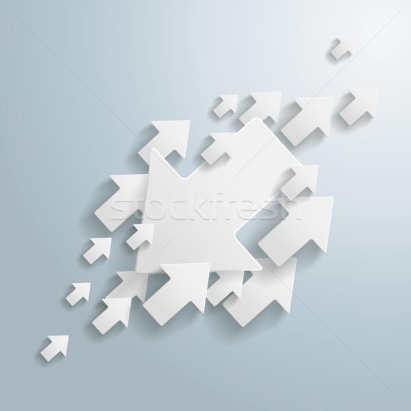 Witte pijlen oppositie grijs eps 10 Stockfoto © limbi007