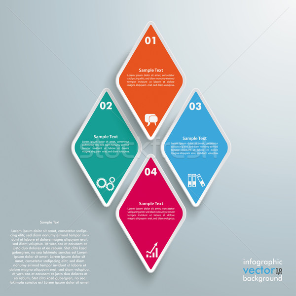 4 Colored Rhombus Pieces Infographic Stock photo © limbi007