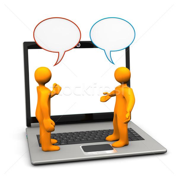 Discussão laptop dois laranja desenho animado Foto stock © limbi007