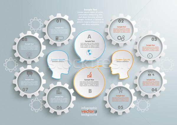 8 Gears 2 Heads Speech Infographic Stock photo © limbi007