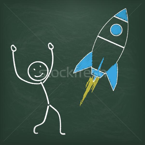 Blackboard Stickman Rocket Stock photo © limbi007