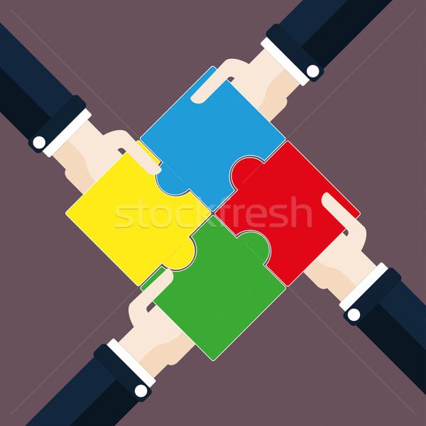 Mãos retângulo quebra-cabeça projeto peças do puzzle eps Foto stock © limbi007