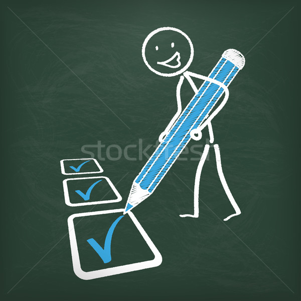 Blackboard Stickman Checklist Blue Pen Stock photo © limbi007