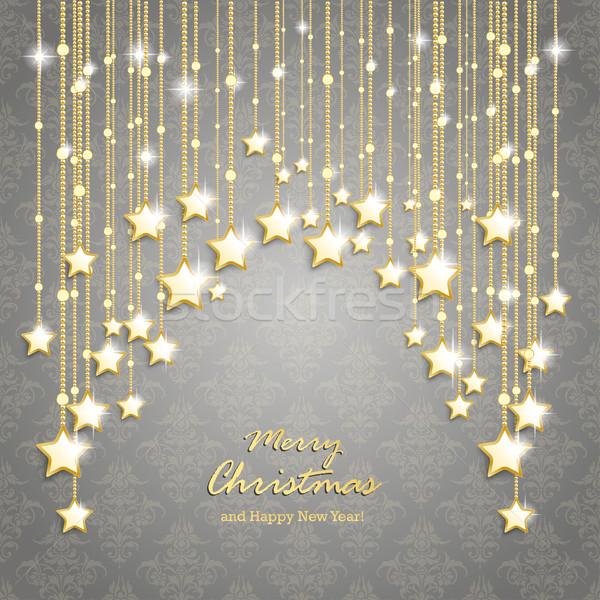 Gouden · christmas · sterren · gordijn · grijs · ornamenten - vector ...