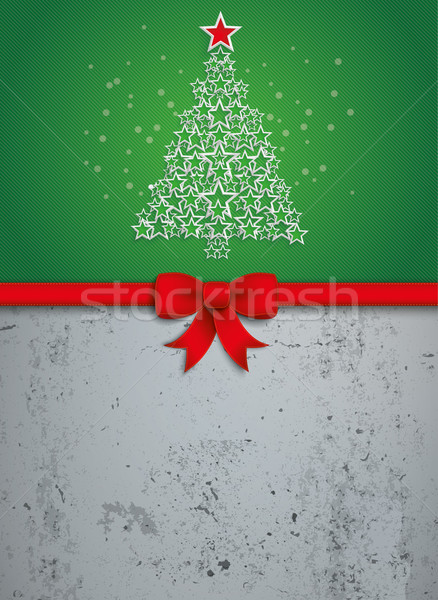 Christmas Stars Tree Red Ribbon Oblong Concrete Stock photo © limbi007