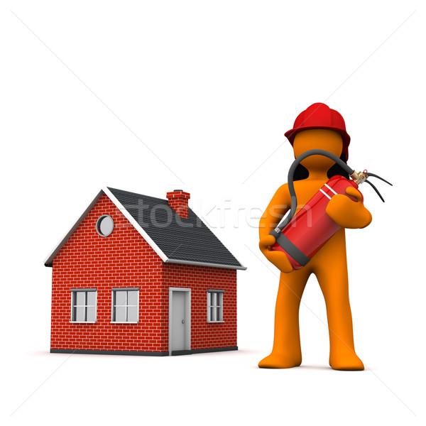Stockfoto: Brandweerman · huis · witte · 3d · illustration · vrouw · brand