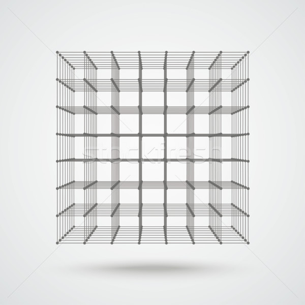 3d Even Cube Connected Dots Stock photo © limbi007