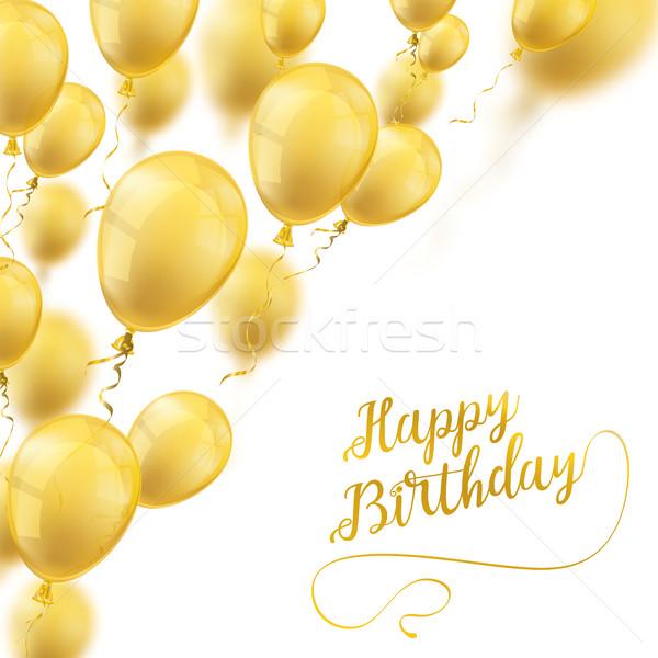 Altın balonlar kapak mutlu yıllar beyaz metin Stok fotoğraf © limbi007
