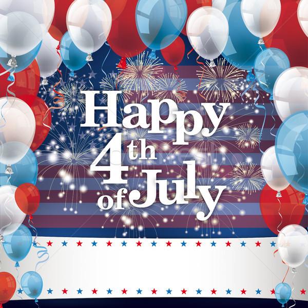 Happy 4th July Fireworks Balloons Banner Stock photo © limbi007