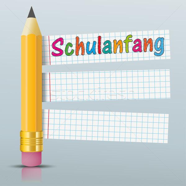 Lápiz papel pegatinas espejo texto volver a la escuela Foto stock © limbi007