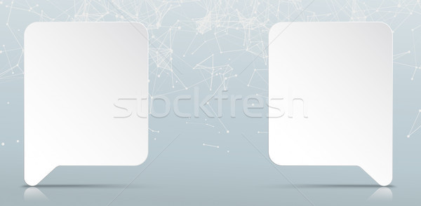 2 Paper Speech Bubbles Network Connected Dots Stock photo © limbi007