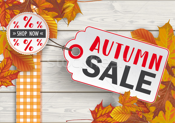 Wood Autumn Sale Foliage Price Sticker  Stock photo © limbi007